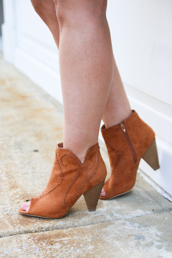 6 / Cognac Embroidered Peep Toe Booties - FINAL SALE - Madison + Mallory