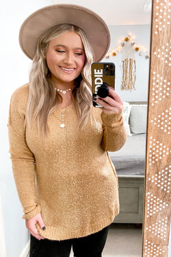 Camel / S Rockvale V-Neck High Low Sweater - FINAL SALE - Madison and Mallory