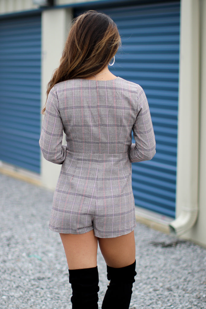 Elise Plaid Romper - Madison + Mallory