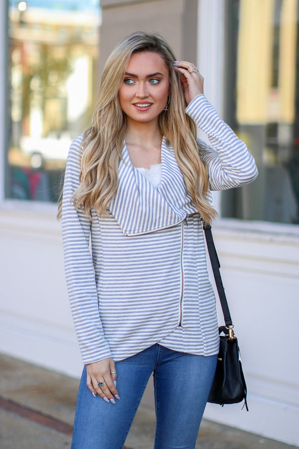 S / Gray One Track Mind Striped Draped Zip Jacket | CURVE - Madison + Mallory