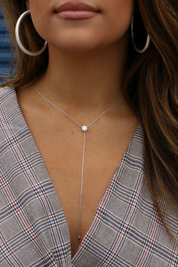 Silver 14KT Crystal Accent Y Necklace - Madison + Mallory