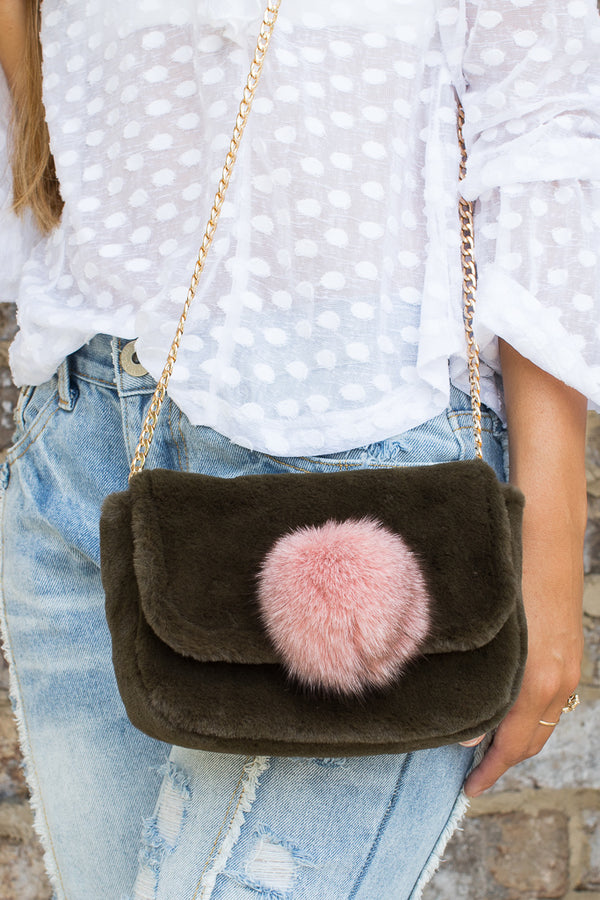 Olive Pom Pom Crossbody - FINAL SALE - Madison + Mallory