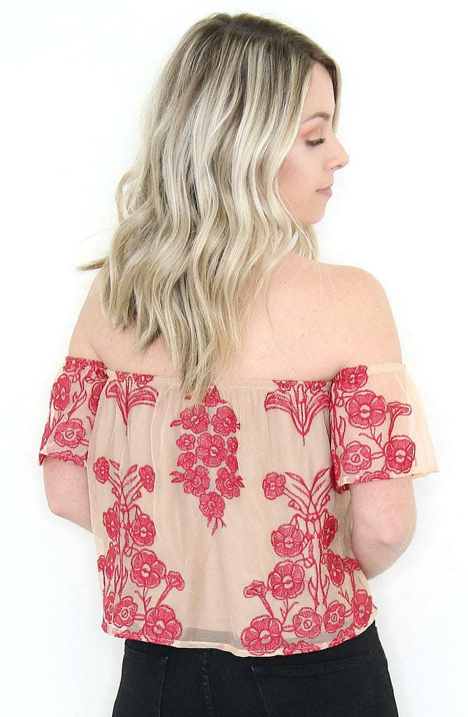 Embroidered Floral Off the Shoulder Top - Madison + Mallory