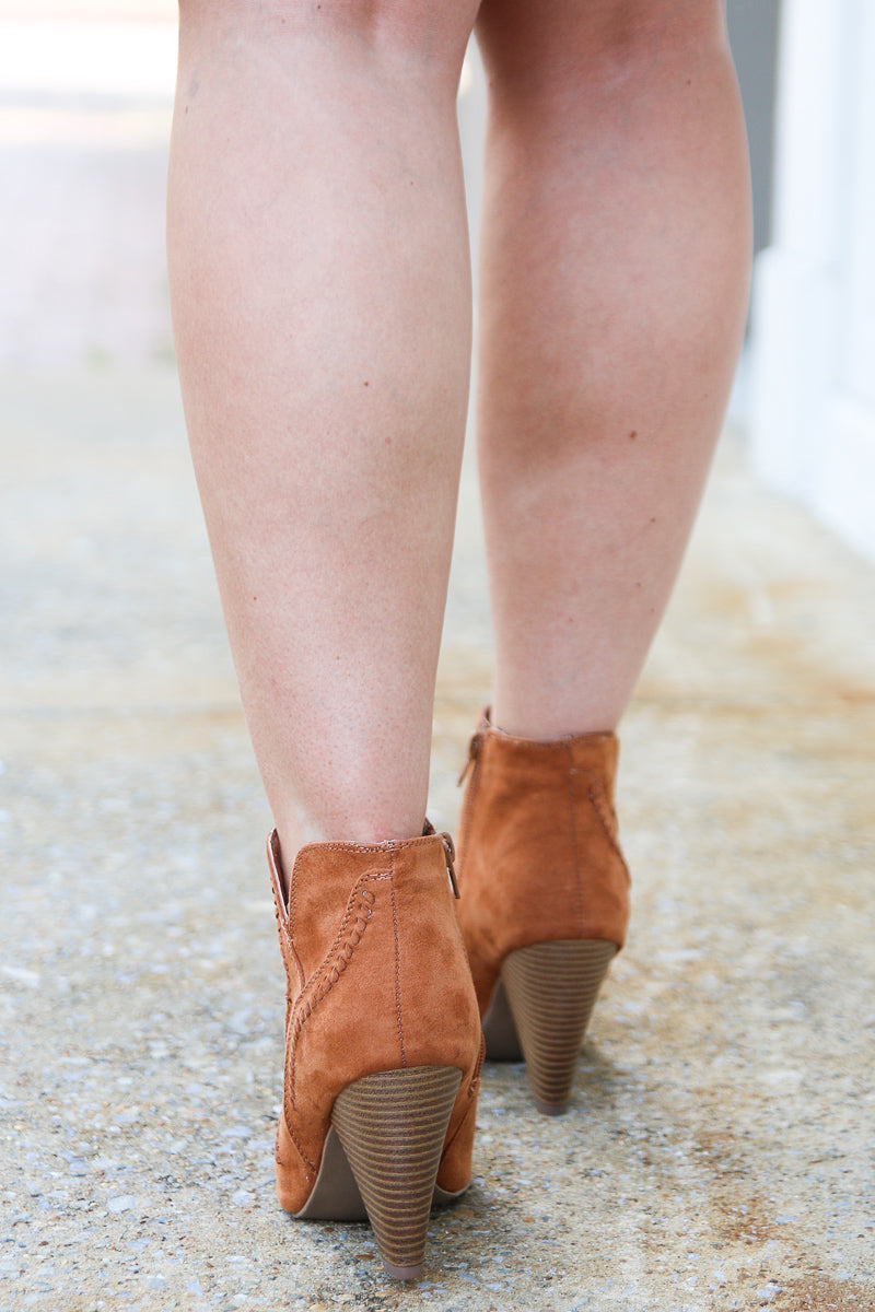 Embroidered Peep Toe Booties - Madison + Mallory
