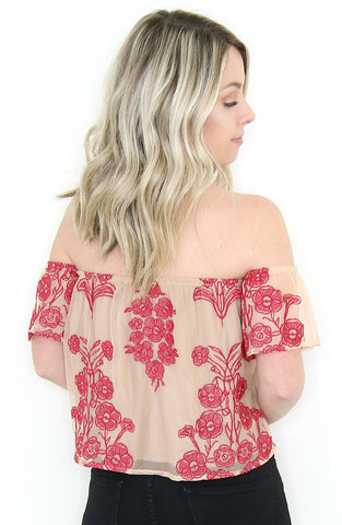 Embroidered Floral Off the Shoulder Top