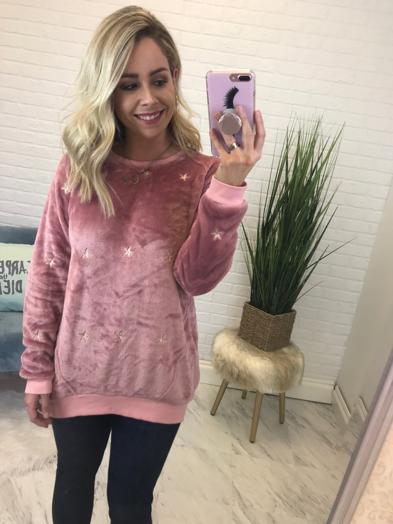 S / Mauve Brushed Velvet Star Pullover Tunic - Madison + Mallory