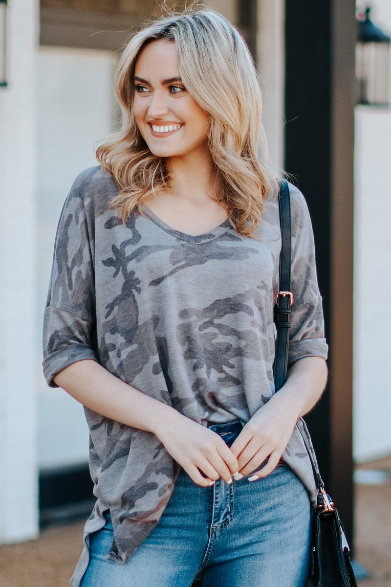 Under Cover Camo V-Neck Top - Madison and Mallory
