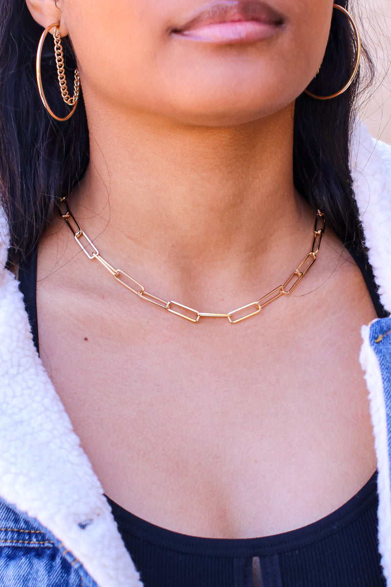 Gold Royal Rank Chain Detail Choker Necklace - Madison and Mallory