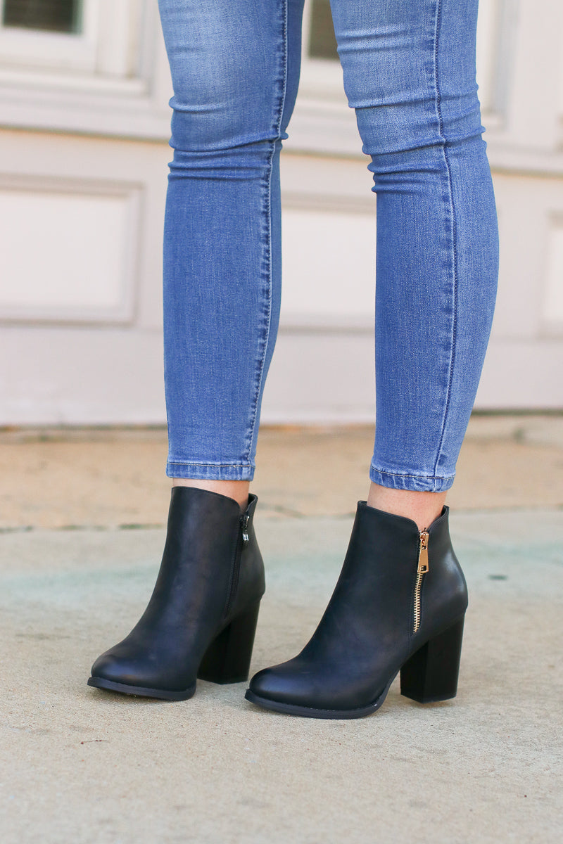 7 / Black Abbey Road Faux Leather Booties - Black - Madison + Mallory