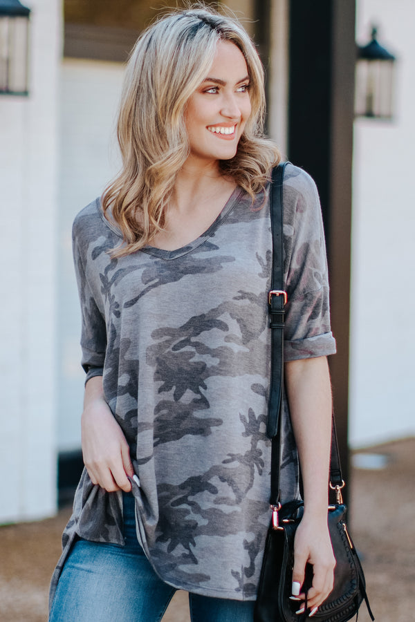S / Charcoal Under Cover Camo V-Neck Top - Madison and Mallory