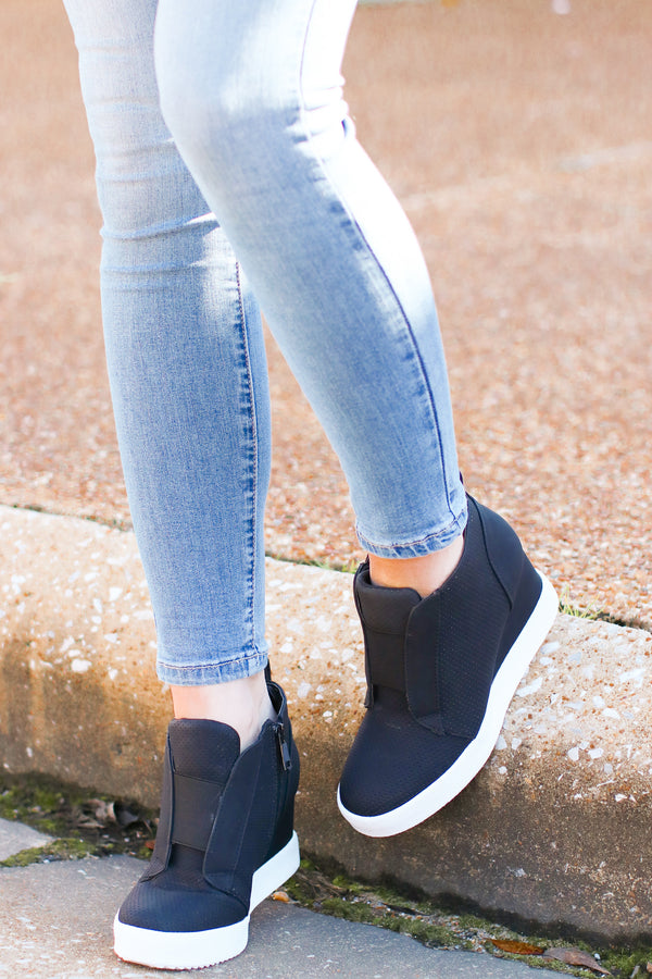 Black / 6 Rodina Wedge Sneaker - Black - Madison and Mallory