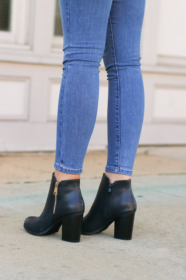 Abbey Road Faux Leather Booties - Black - FINAL SALE - Madison + Mallory