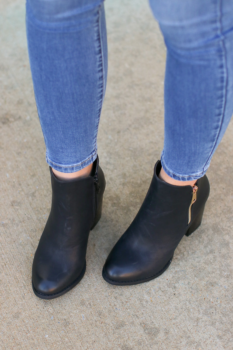 Abbey Road Faux Leather Booties - Black - Madison + Mallory