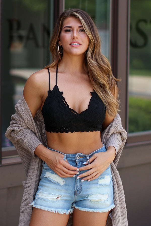 Black / S Evangeline Scallop Lace Bralette - Black - Madison + Mallory