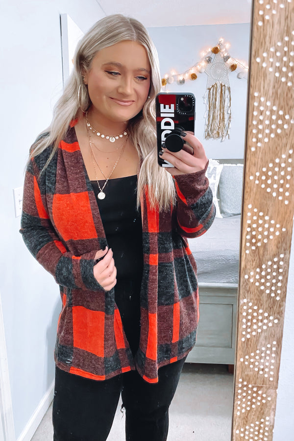 Red / S Chill in the Air Tartan Plaid Cardigan - Madison and Mallory