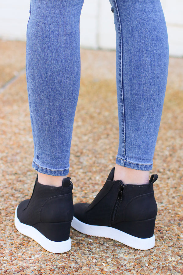 Rodina Wedge Sneaker - Black - Madison and Mallory