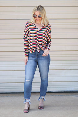 S / Navy Feeling Retro Striped Top - Madison + Mallory