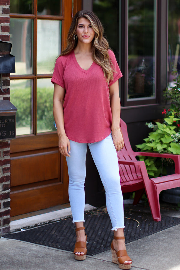 Sophia V-Neck Top - Coral - Madison + Mallory