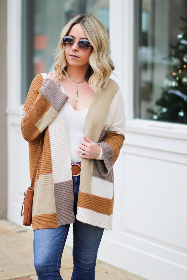S / Caramel Sophie Color Block Cardigan - Madison + Mallory