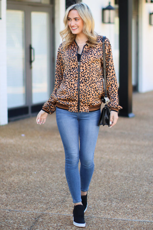 Art of Cool Leopard Bomber Jacket - Madison + Mallory