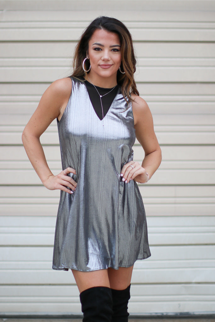 S / Silver Metallic Shift Dress - FINAL SALE - Madison + Mallory