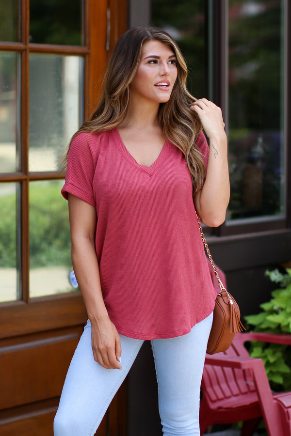 Coral / S Sophia V-Neck Top - Coral - Madison + Mallory