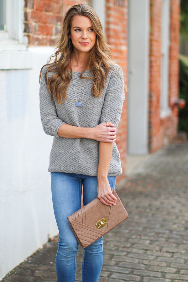 S / Gray Fly By Textured Knit Sweater - Madison + Mallory