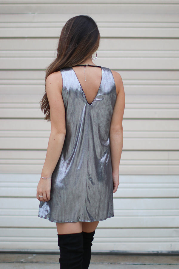 Metallic Shift Dress - Madison + Mallory