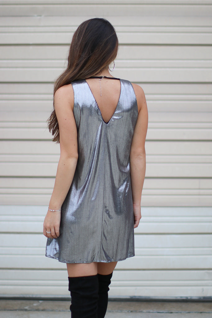 Metallic Shift Dress - FINAL SALE - Madison + Mallory