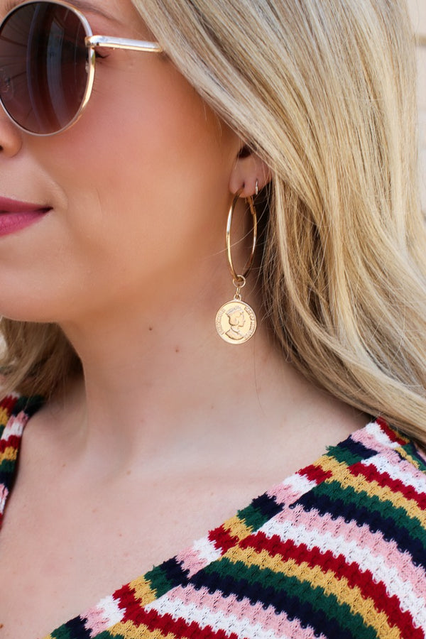OS / Gold Treasure Hunt Coin Earrings - Madison + Mallory