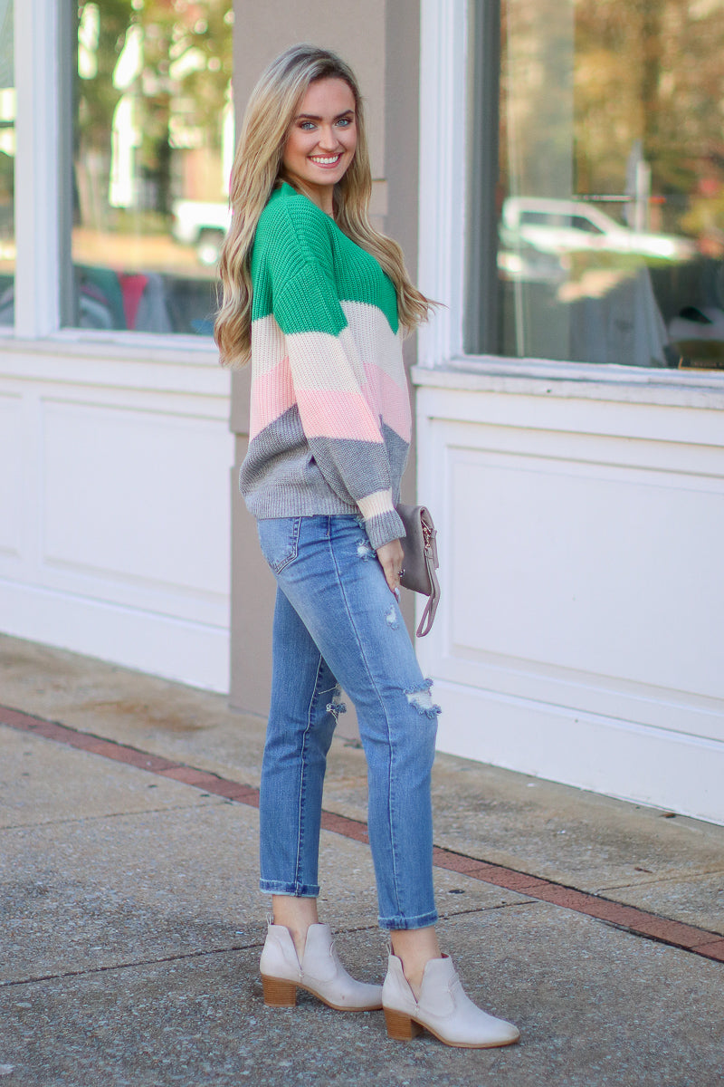 Anaheim Color Block Chevron Sweater - Madison + Mallory