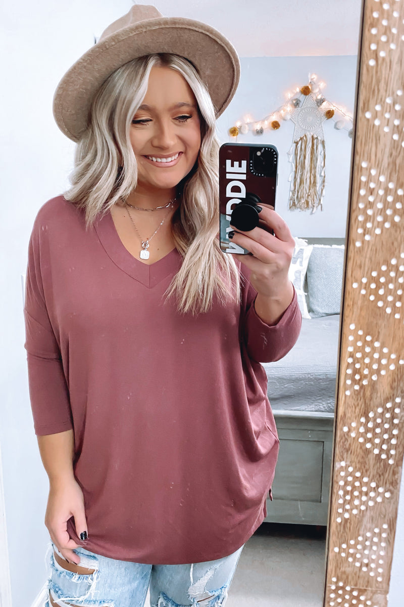 Savina V-Neck Relaxed Top - Madison and Mallory