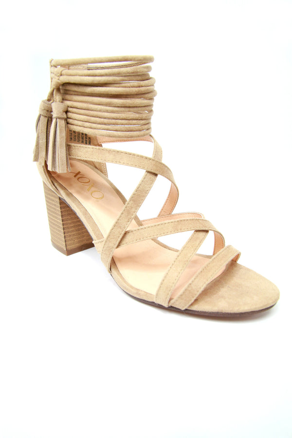 6 / Sand Suede Ankle Wrap Heels - Madison + Mallory