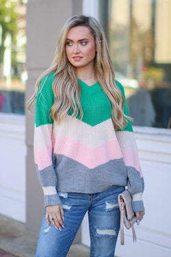 SM / Green Anaheim Color Block Chevron Sweater - Madison + Mallory