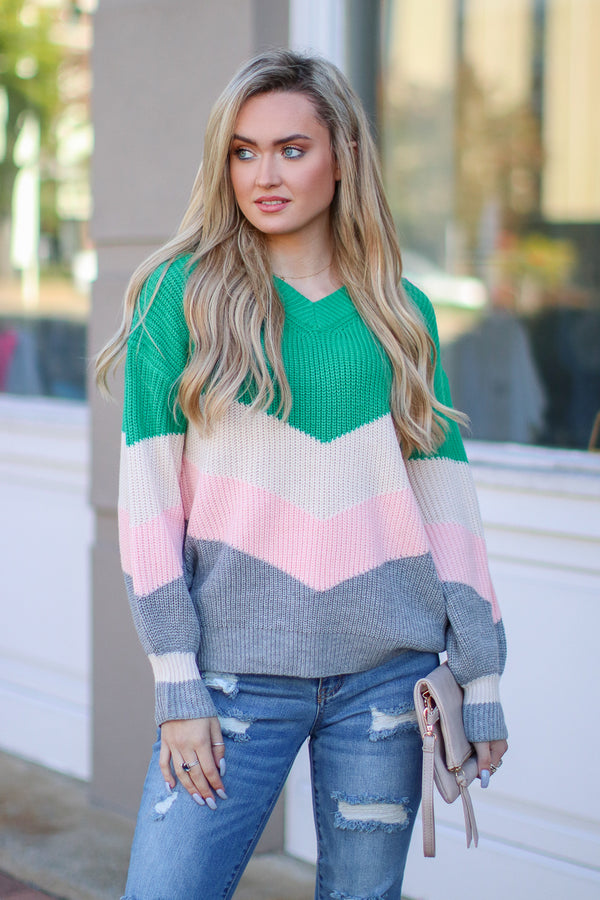 SM / Green Anaheim Color Bock Chevron Sweater - Madison + Mallory