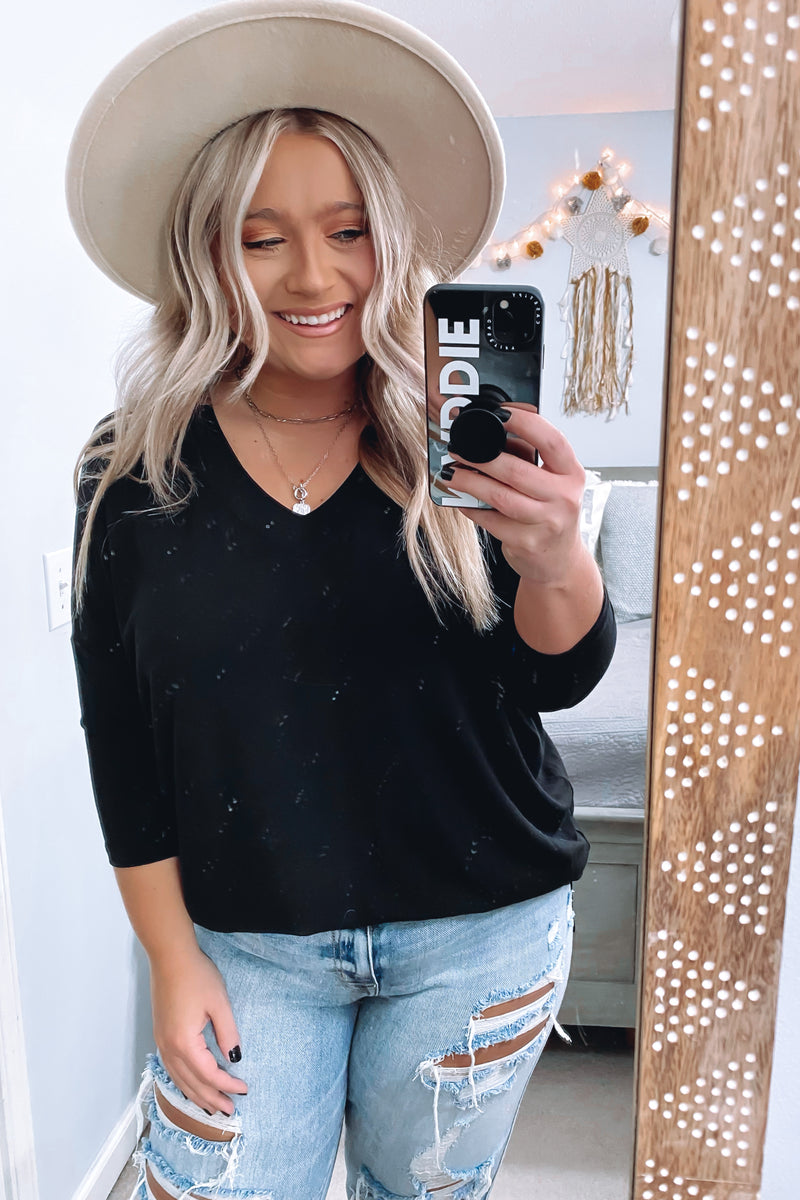 Black / S Savina V-Neck Relaxed Top - Madison and Mallory