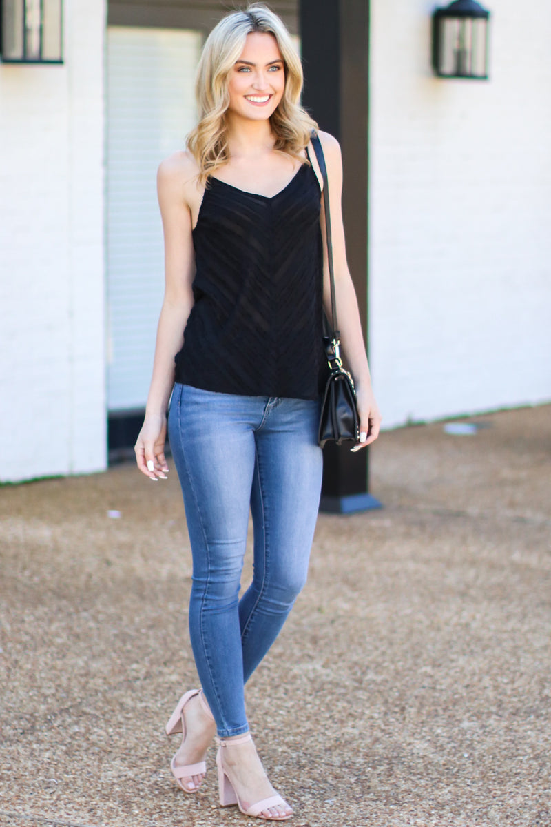 Nalini V-Neck Tank Top - Black - FINAL SALE - Madison and Mallory
