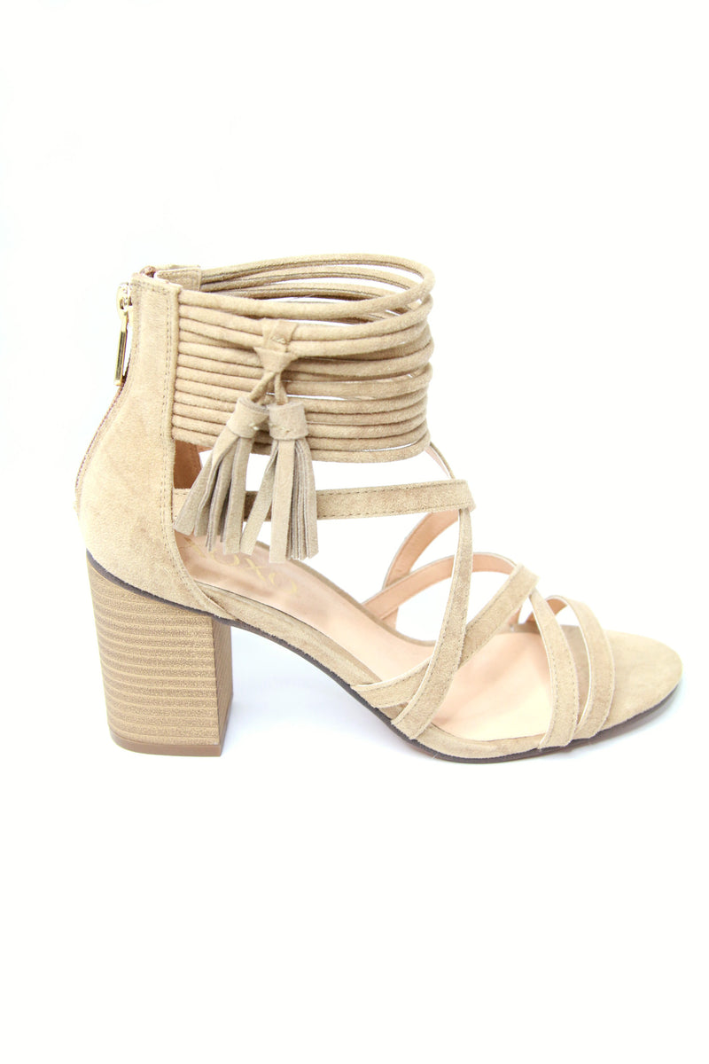 Suede Ankle Wrap Heels - Madison + Mallory
