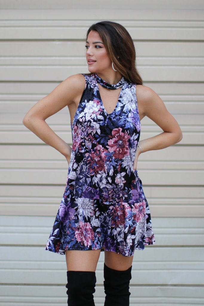S / Black Multi Cutout Choker Floral Velvet Tiered Dress - FINAL SALE - Madison + Mallory