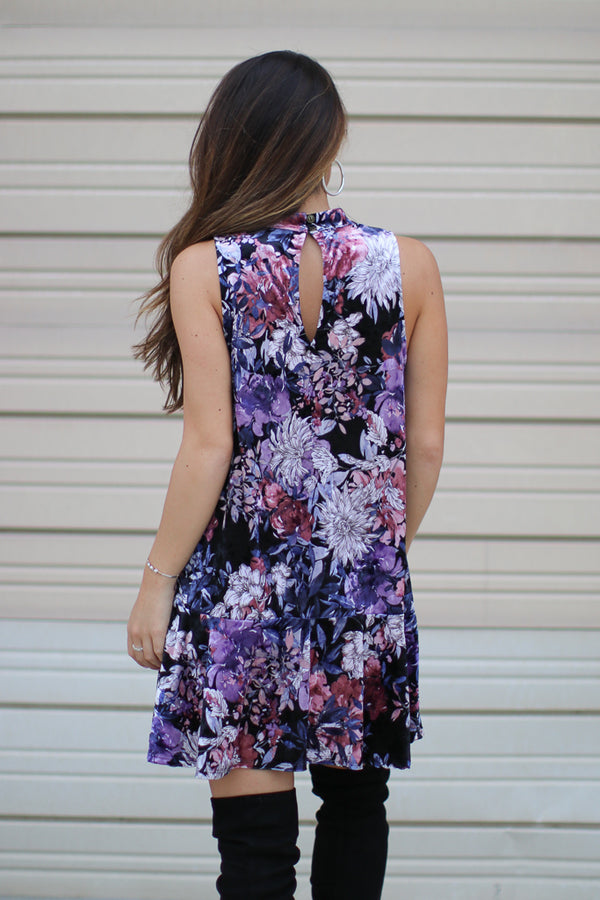 Cutout Choker Floral Velvet Tiered Dress - Madison + Mallory