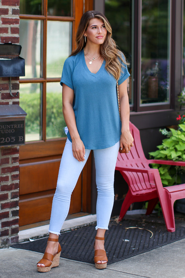 Sophia V-Neck Top - Teal - Madison + Mallory