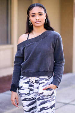Involved Off Shoulder Mineral Washed Pullover - Madison and Mallory