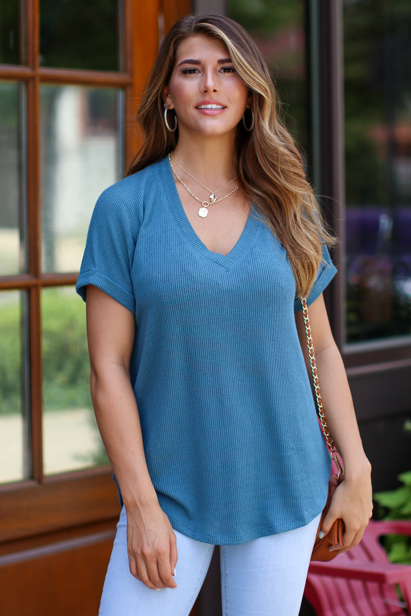 Teal / S Sophia V-Neck Top - Teal - FINAL SALE - Madison + Mallory