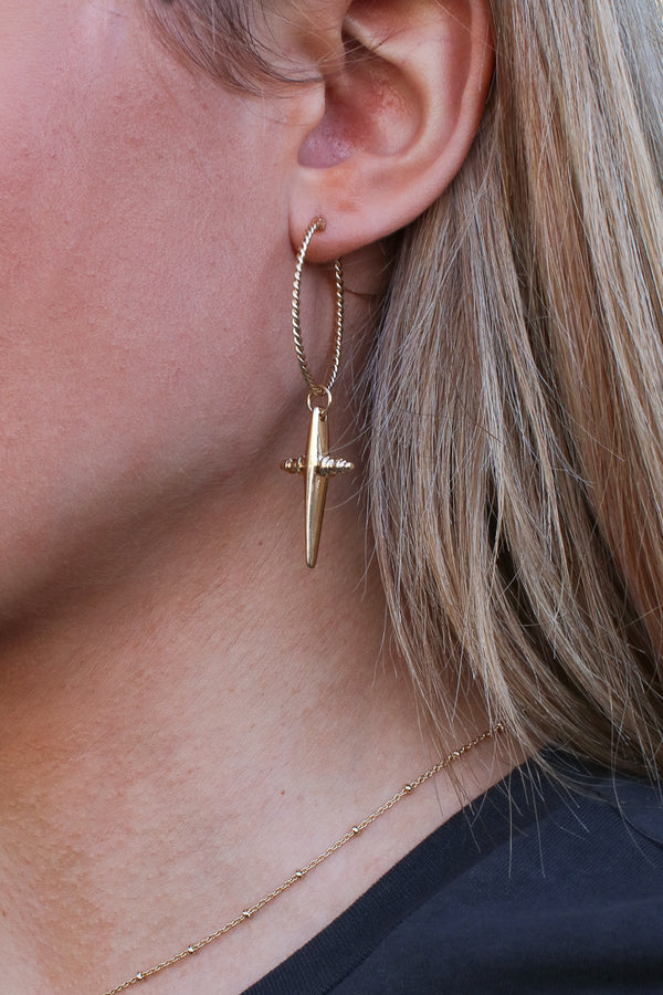 Gold Vadoma Cross Hoop Earrings - Madison + Mallory