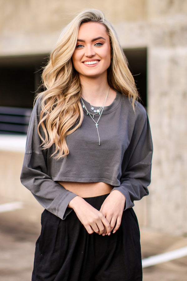 S / Charcoal Storey Lightweight Crop Top - Madison and Mallory
