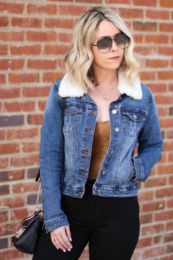 Coffee Run Denim Jacket - White - Madison + Mallory