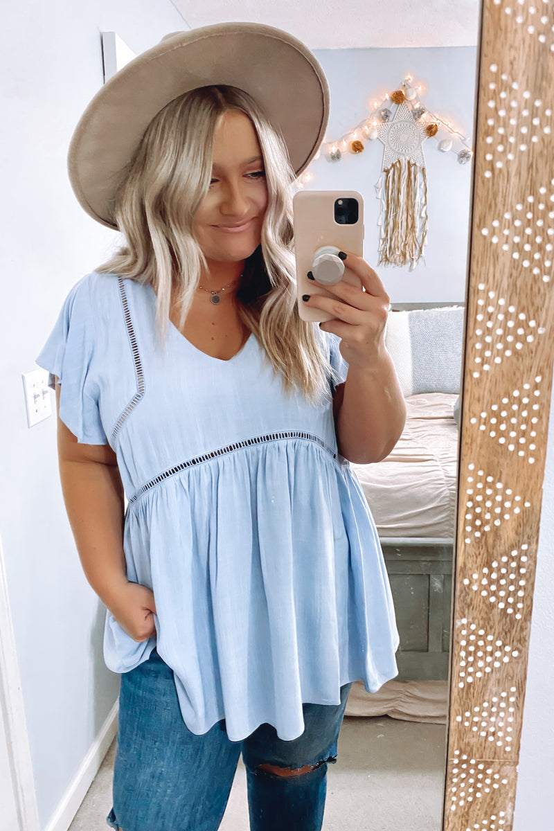 Chambray / S Timeless Touch Crochet Trim Babydoll Flutter Top - Madison and Mallory