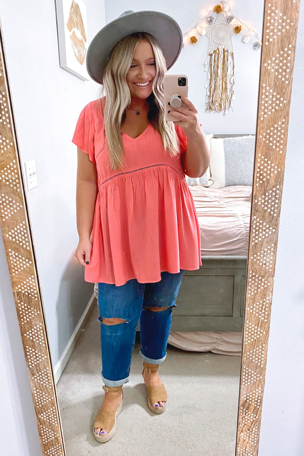 Coral / S Timeless Touch Crochet Trim Babydoll Flutter Top - Madison and Mallory