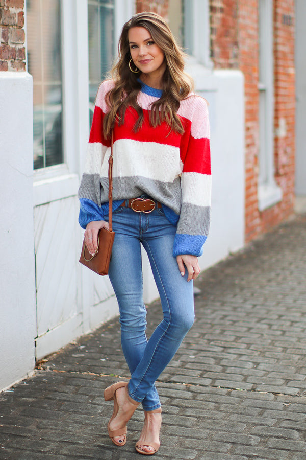 Knit for Me Color Block Sweater - Madison + Mallory