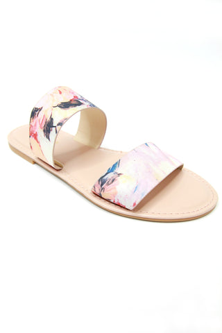7 / Blush Watercolor Double Band Slide Sandals - Madison + Mallory